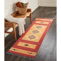 "Nourison Baja Moroccan Orange/Red Runner Rug (2'3 X7'6) - 2'3"" x 7'6"" Runner"