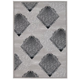 Nourison Michael Amini Gotham Collection Ash Lacy Scroll Area Rug (5'3 x 7'4)