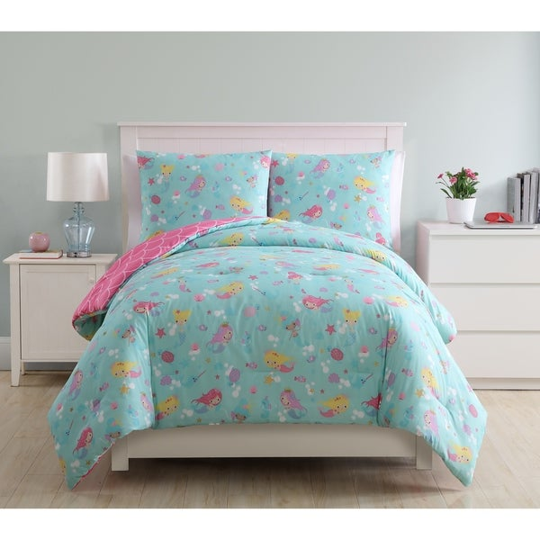 VCNY Home Mermaid Princess Reversible Comforter Set - Teal/Pink