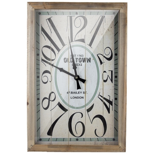 Old Town London Retro Rectangular Wood Wall Clock