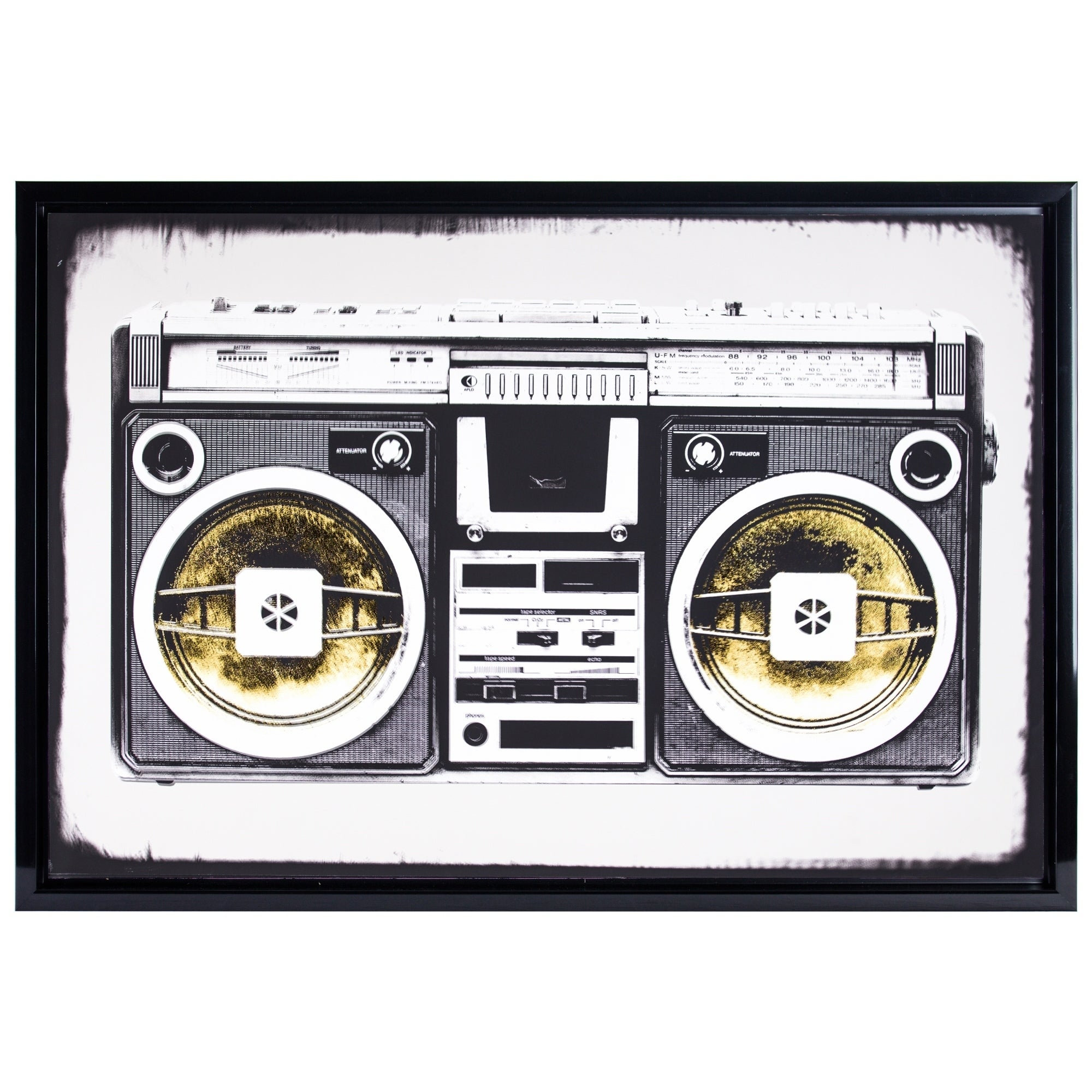 Gallery Black White Vintage Radio Boombox Stereo Glossy F...