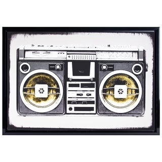 "Black White Vintage Radio Boombox Stereo Glossy Finish Canvas Photo Print with Gold Foil Framed Wall Art Decor 26"" x 38"""