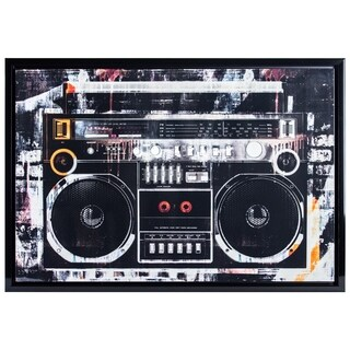 """Vintage Graffiti Radio Boombox Stereo Glossy Finish Canvas Photo Print with Gold Foil Framed Wall Art Decor 26"""" x 38"""""""