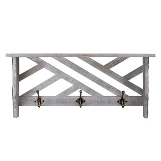 Rustic White Wall Mounted Coat Rack Wooden Shelf