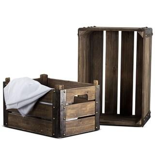 American Art Decor 2 Piece Rectangular Rustic Wooden Storage Crates