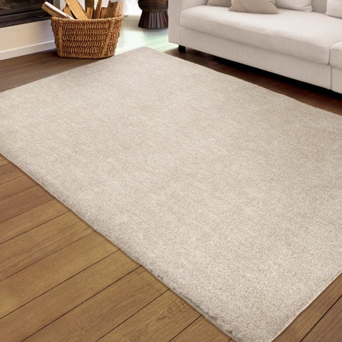 "Plush Shag Cream Ivory Beige Solid Design Rug by Carolina Weavers - 5'3"" x 7'6"""