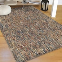Plush Shag Multicolor Blue, Red & Cream Solid Design Rug by Carolina Weavers - 9' x 13'