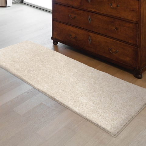 "Plush Shag Cream Ivory Beige Solid Design Rug by Carolina Weavers - 2'3"" x 8'"