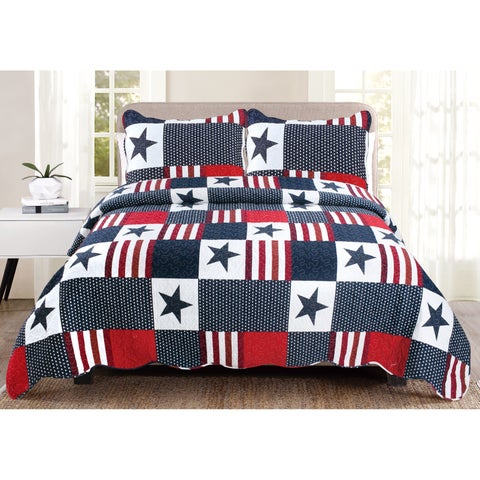 """Luxury Collection Americana Full/ Queen 86""""x86"""" Quilt Set (2 Shams) - Multi-color"""