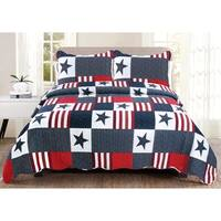"Luxury Collection Americana Full/ Queen 86""x86"" Quilt Set (2 Shams) - Multi-color"