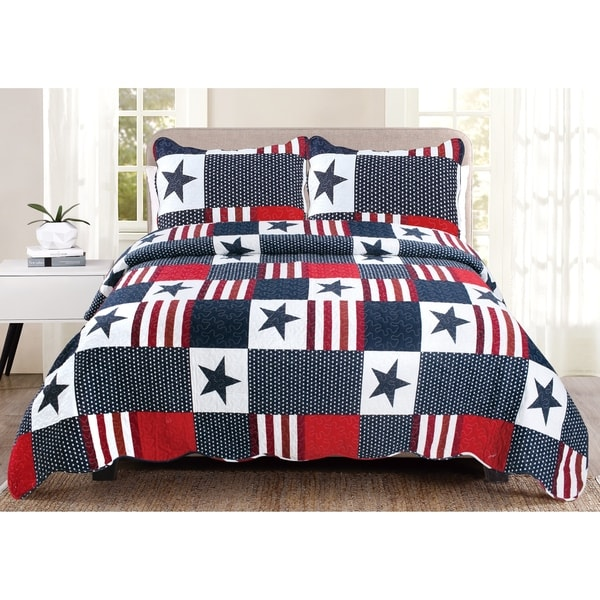 Luxury Collection Americana King 90 in x 100 in Quilt Set (2 Shams) - Multi-color
