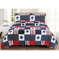 Luxury Collection Americana Twin 68 in x 86 in Quilt Set (1 Sham) - Multi-color