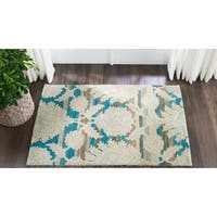 "Nourison India House Ivory/Teal Wool Area Rug - 2'6"" x 4'"
