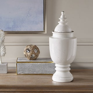 Madison Park Campania White Ceramic Urn - Medium