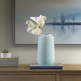 Madison Park Salerno Blue Slim Ceramic Vase - Small