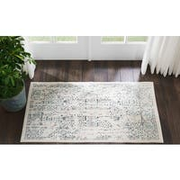 "Kathy Ireland Silver Screen Ivory/Teal Area Rug by Nourison (2'2 X3'9) - 2'2"" x 3'9"""