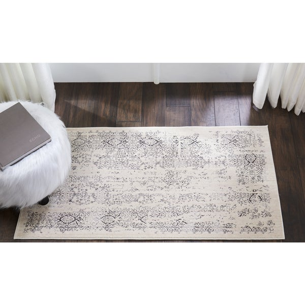 "Kathy Ireland Silver Screen Ivory/Grey Area Rug by Nourison (2'2 X3'9) - 2'2"" x 3'9"""