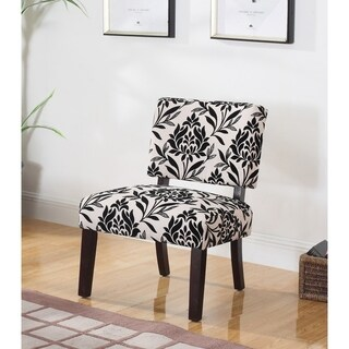 Best Master Furniture Black/Beige Floral Accent Chair