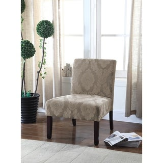 Best Master Furniture Beige Floral Accent Chair with Wood Legs