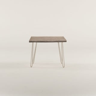 World Interiors Acacia Live Edge Rectangle Side Table in Weathered Grey