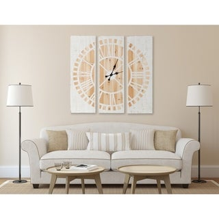 Kate and Laurel Piedmont 3 Panel Wood Wall Clock, White and Natural