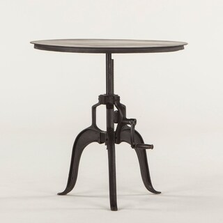 World Interiors Acacia and Iron Adjustable Side Table in Walnut Finish