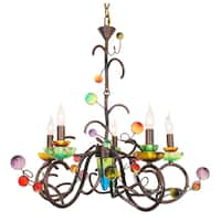 Van Teal 800350 Copa Cabana Copper Finish Metal Chandelier with Multicolored Acrylic Shades