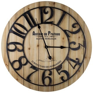 American Art Decor Iron and Wood Round French Country Wall Clock