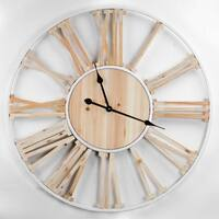 Wood White Metal Round Roman Numeral Wall Clock