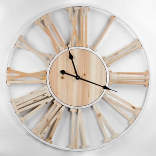 American Art Decor Wood White Metal Round Roman Numeral Wall Clock
