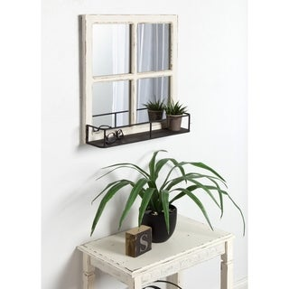 Link to Kate and Laurel Jackson Distressed Wood Windowpane Mirror w/MetalShelf Similar Items in Mirrors