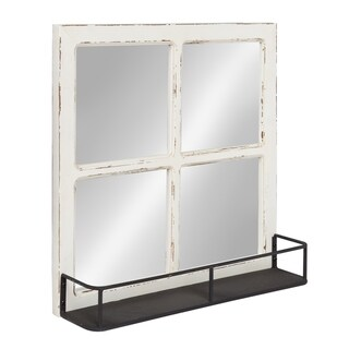 Kate and Laurel Jackson Distressed Wood Windowpane Mirror w/MetalShelf - White - 20x20