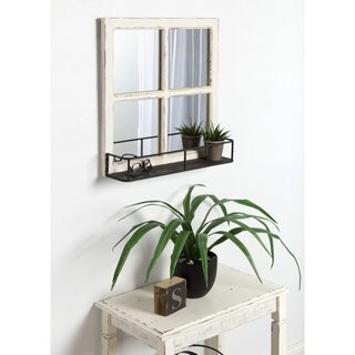 Kate and Laurel Jackson Distressed Wood Windowpane Mirror w/MetalShelf - White