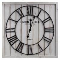 American Art Decor Union Hotel Square White Wood and Metal Wall Clock