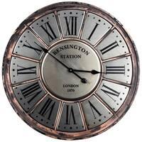 American Art Decor Kensington Station Round Silver Metal Wall Clock