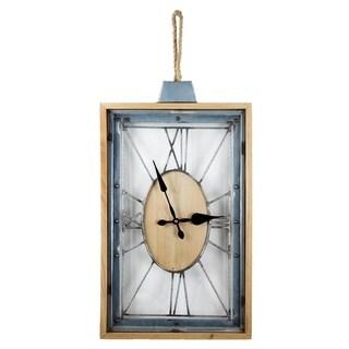 American Art Decor Rectangular Open Metal Roman Numeral Wall Clock