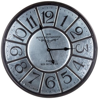 Hotel Westminster Round Silver Metal Wall Clock
