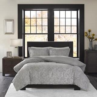 Madison Park Syracuse Grey Ultra Plush Comforter Set King Size (As Is Item)