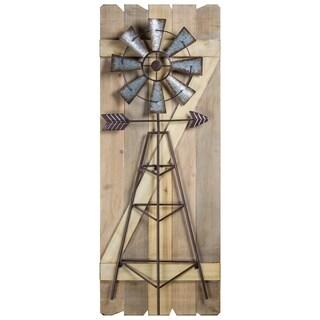 Windmill Arrow Wood Metal Hanging Wall Decor