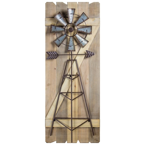 American Art Decor Windmill Arrow Wood Metal Hanging Wall Decor
