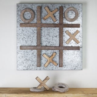 Hanging Message Memo Board Wood/Metal Magnetic Tic-Tac-Toe Farmhouse Decor