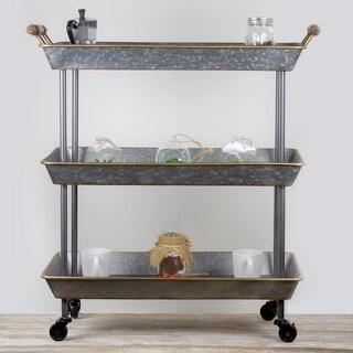 American Art Decor Galvanized Metal Rolling Cart 3 Tier Organizer