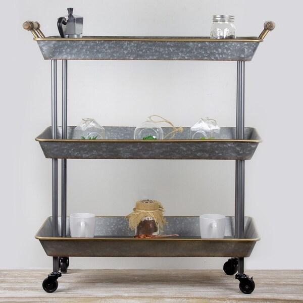 American Art Decor Galvanized Metal Rolling Cart 3 Tier