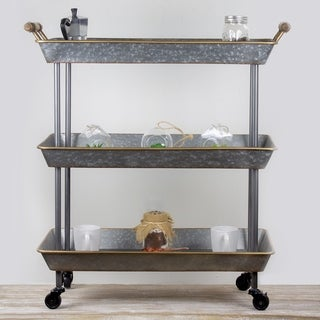 American Art Decor Galvanized Metal Rolling Cart 3 Tier Organizer