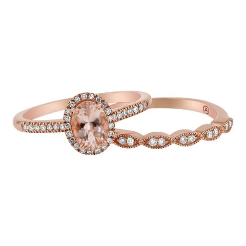 14k Rose Gold 1/4ct TDW Oval Morganite and Diamond Halo Vintage Set
