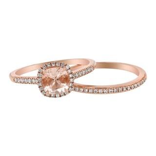 14k Rose Gold 1/4ct TDW Cushion Morganite and Diamond Halo Wedding Set