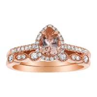 14k Rose Gold 1/4ct TDW  Pear Morganite and Diamond  Halo Vintage Wedding Band Set