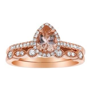 14k Rose Gold 1/4ct TDW Pear Morganite and Diamond Halo Vintage Wedding Band Set