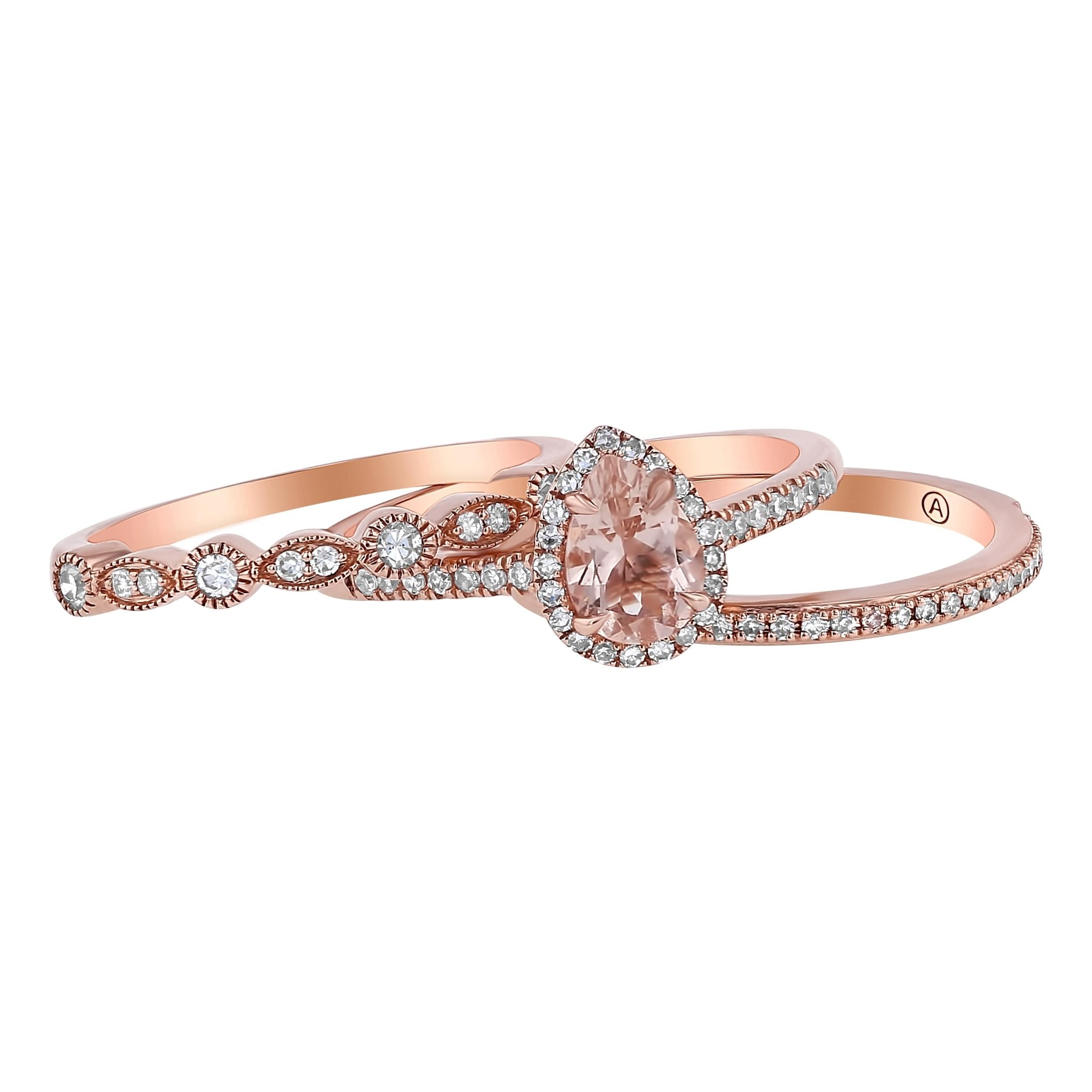Morganite Wedding Set.14k Rose Gold Diamonds And Morganite Halo Wedding Band Set By Beverly Hills Charm