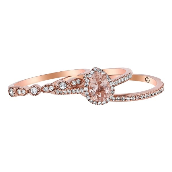 14k Rose Gold 1/3ct TDW Pear Morganite And Diamond Halo 3 Ring Wedding Set